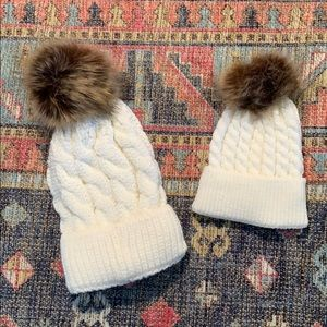 Accessories - Mommy & Me matching cream beanie hats